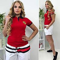 """Летний спортивный костюм  """"PORSCHE"""" (большой размер): шорты с футболкой, красно-белый"""