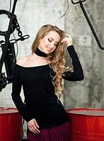 Женская черная кофта с чокером длинный рукав свисающая с плеч