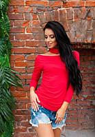 Женская красная кофта с чокером длинный рукав свисающая с плеч