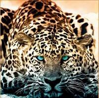 Алмазная вышивка леопард 25х25 см, круглые стразы