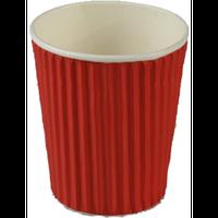 Стакан бумажный гофрированый красный 350 мл 15 шт