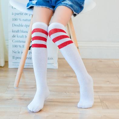 Гольфы - чулки для девочки белые с красными полосками (10174)