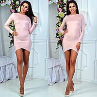 Женское замшевое платье тюльпан 3 цвета