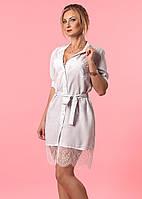 Летнее женское платье-рубашка белого цвета с кружевом. Модель 993, коллекция лето 2017.