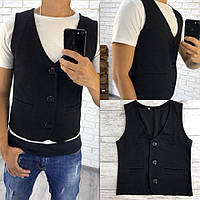 Стильная мужская жилетка на пуговицах с карманами, черная