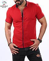 Мужская рубашка с коротким рукавом красная