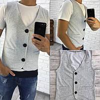 Стильная мужская жилетка на пуговицах с карманами, серая