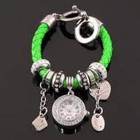 Браслет Пандора с часами зеленый, женское украшение