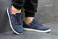 Мужские кеды, текстиль + джинс, темно синие / джинсовые кеды мужские, модные, удобные