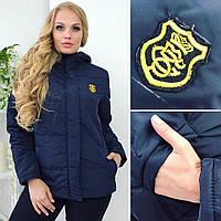 Куртка женская большого размера, с плотной плащёвки, на синтепоне 150, качественная фурнитура, темно-синяя