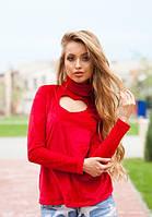 Женская красная велюровая кофта с вырезом в форме сердца на груди длинный рукав