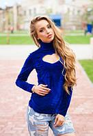 Женская синяя велюровая кофта с вырезом в форме сердца на груди длинный рукав