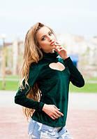 Женская зеленая велюровая кофта с вырезом в форме сердца на груди длинный рукав