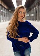 Женская синяя велюровая кофта до длинного рукава на одно плече с узлом
