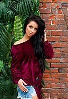 Женская бордовая велюровая кофта до длинного рукава на одно плече с узлом