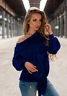 Женская серая велюровая кофта до длинного рукава на одно плече с узлом