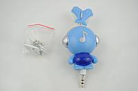 Наушники вакуумные детские SN-1301/02/03 (шнур-рулетка, без микрофона)голубые