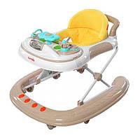 Детские ходунки Carrello 2 в 1 op-Top CRL-4101 Beige. Силиконовые колеса!!!
