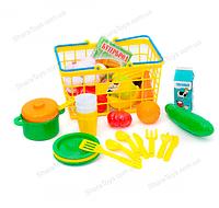 """Корзинка с игрушечной едой и посудкой """"Супермаркет"""""""