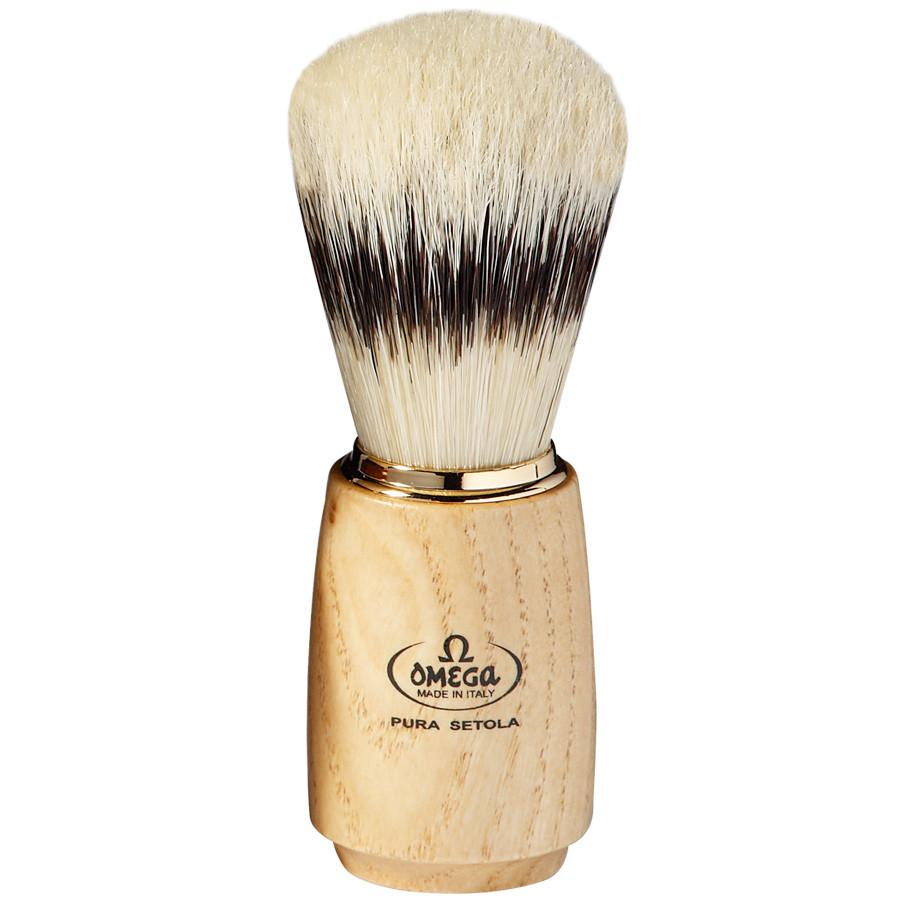Помазок Omega 11150 натуральный ворс кабана, ручка натуральное дерево