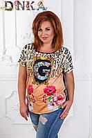 Женская приталенная футболка с красивым принтом
