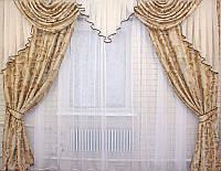 Комплект ламбрекен и шторы на карниз 3 м