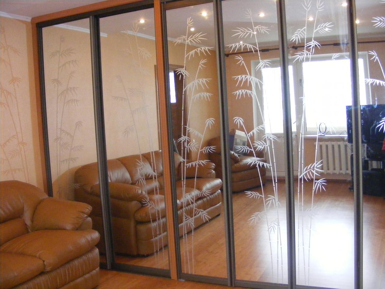 Шкаф кровать купе фасад зеркало гармошка