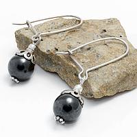 Гематит, Ø10 мм.; серебро, серьги, 221СРГ