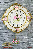 """Часы настенные """"Цветочный стиль старинных часов""""."""