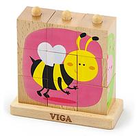 Пазл-кубики вертикальный Viga toys Насекомые (50158), фото 1