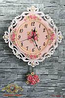 """Часы настенные """"Нежность цветов и жемчуга""""."""
