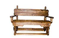 """Лавка """"Карпати-2"""" дерев'яна під старовину з підлокотниками"""
