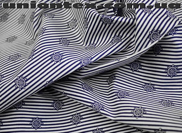 Ткань коттон стрейч тонкий принт якоря, фото 2