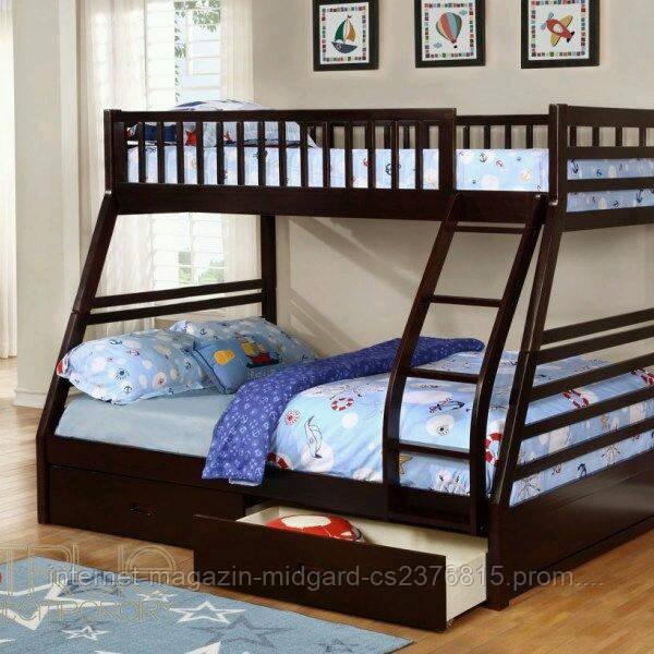 """Двухъярусная трехспальная кровать семейного типа """"Юлия """" трансформер массив"""