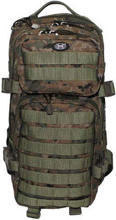 Тактический рюкзак 30л армейский с системой Molle MFH Assault I цифровой лесной камуфля 30333S, фото 2