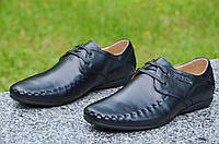 Туфли, мокасины мужские молодежные кожанные черные модные Китай 2017. Со скидкой