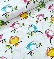 Хлопковая ткань польская птички фиолетовые, бирюзовые, зеленые на белом