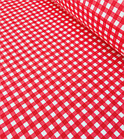 Хлопковая ткань польская клетка красная