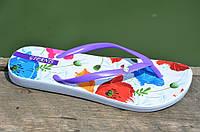 Вьетнамки, шлепанцы, сланцы женские удобные цветочки, фиолетовые легкие ЭВА. Со скидкой