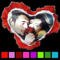 Печать на подушке сердце(атлас,рюш)