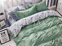 Детское постельное белье из сатина в кроватку с простынью на резинке