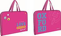 """491124 Папка-портфель на молнии с тканевыми ручками """"Oxford"""" розовый"""