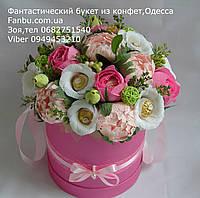"""Букет из конфет в розовой коробочке""""Розовая шляпа""""№19+6"""