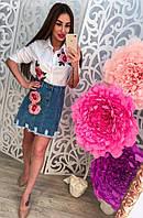 Летний женский комплект джинсовая юбка и рубашка с нашивками цветы тренд 2017!!!