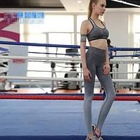 Спортивный комплект костюм топ леггинсы Градиент Меланж для тренировок черный /серый, L, S/M