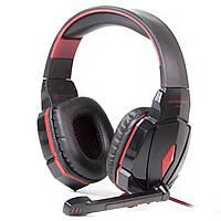 Гарнитура KOTION G4000 черно-красная игровая для компьютера и ноутбука с микрофоном мягкими амбушюрами оплетка