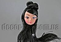 Голова куклы с макияжем и черными волосами 15см 12