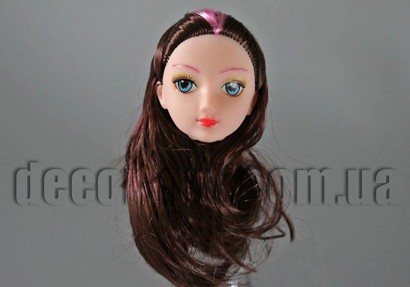 Голова куклы с макияжем и каштановыми с мелировкой волосами 10см 11