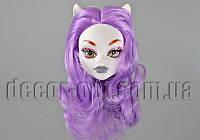 Голова белой куклы Монстер Хай с ушками и сиреневыми волосами 10 см