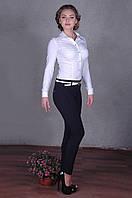 Стильные женские брюки синего цвета под поясок